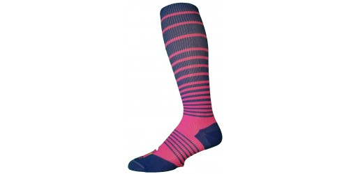 ELECTRIC BLUE  WITH PINK STRIPES compression socks