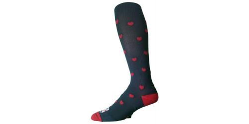 DARK BLUE - RED HEARTS compression socks