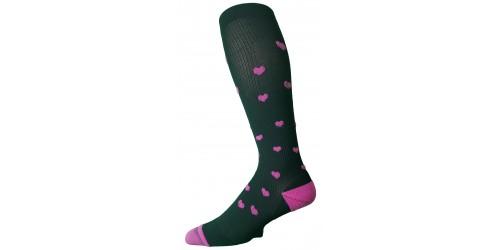 BLACK BERRY HEARTS compression socks