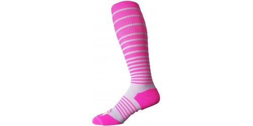 PINK & GRAY STRIPED compression socks